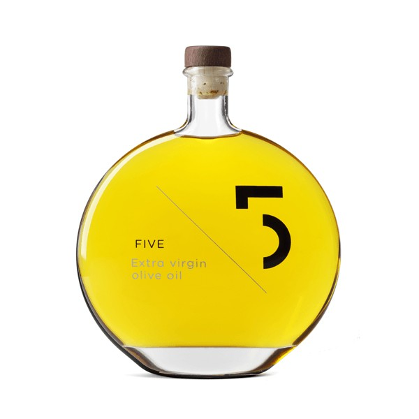FIVE extra virgin olive oil bottle